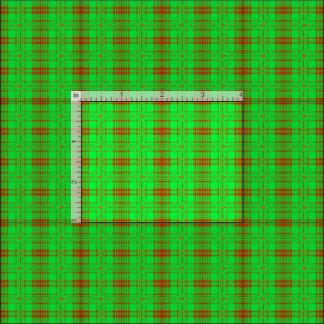 Green Red plaid fractal design Fabric
