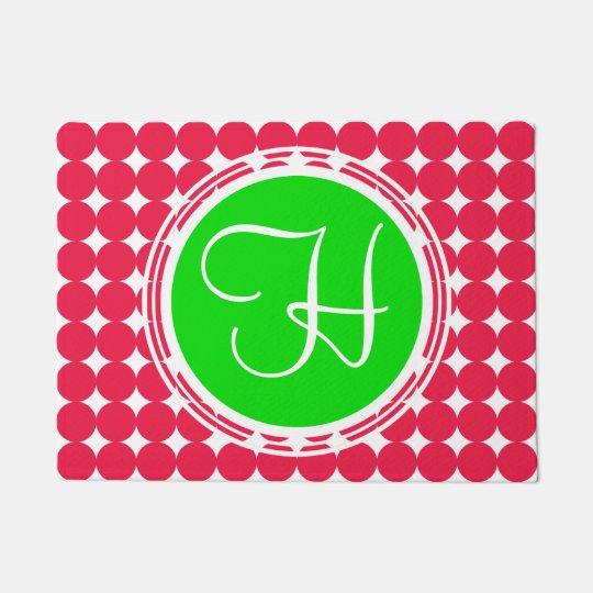Green & Red Polka Dot Monogram Doormat