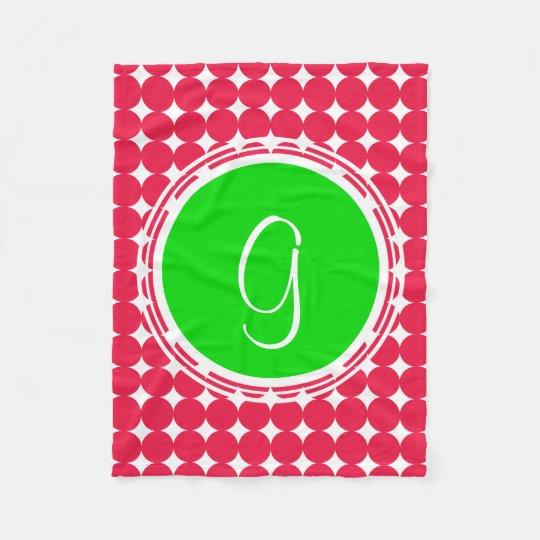 Green & Red Polka Dot Monogram Fleece Blanket