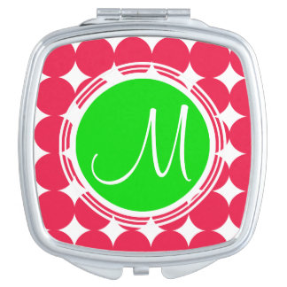 Green & Red Polka Dot Monogram Makeup Mirrors