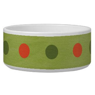 Green Red Polka Dots Dog Pet Bowl