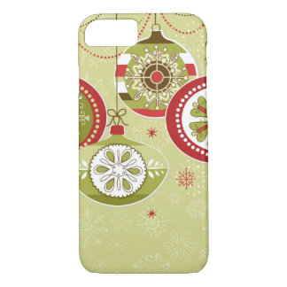 Green & Red Retro Christmas Ornaments iPhone 8/7 Case