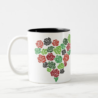 Green & Red Roses Floral Coffee Mug