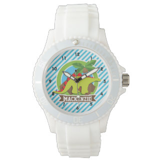 Green & Red Stegosaurus Dinosaur; Blue & White Watch