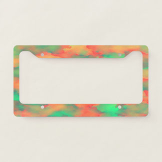 Green, Red Watercolor-Like Abstract Pattern License Plate Frame