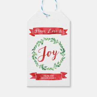 Green Red Watercolor Wreath Christmas Gift Tags
