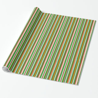 Green Red White Christmas Colors Bold  Stripes Wrapping Paper