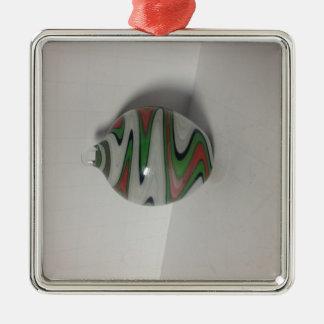 green red white dichro wig wag pattern Silver-Colored square ornament