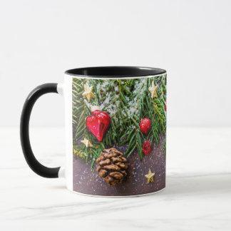 Green Red White Pinecone Christmas Holiday Mug
