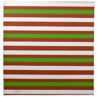 Green Red White Stripe Napkin