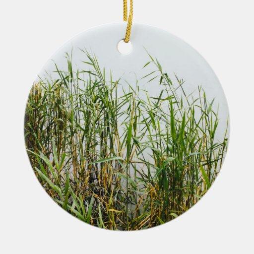 Green Reed, Grey Lake Background, Nature Christmas Tree Ornaments