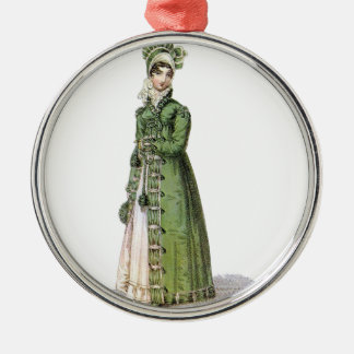 Green Regency Lady Silver-Colored Round Ornament
