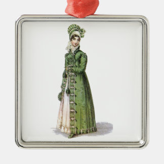 Green Regency Lady Silver-Colored Square Ornament