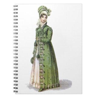Green Regency Lady Spiral Note Books