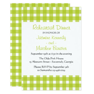 Green Rehearsal Dinner Gingham Plaid Wedding Check Card