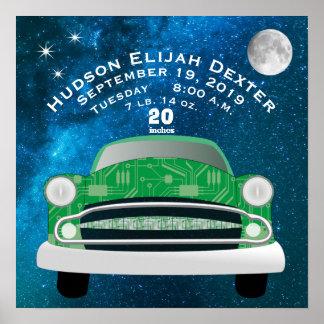 Green Retro Car Baby Boys Birth Stat Birth Record Poster
