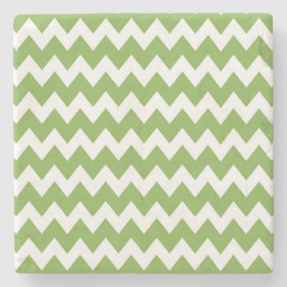 Green Retro Colorful Modern Chevron ZigZag Pattern Stone Coaster