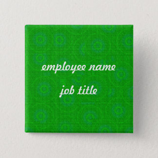 Green Retro Employee Name Tag Button