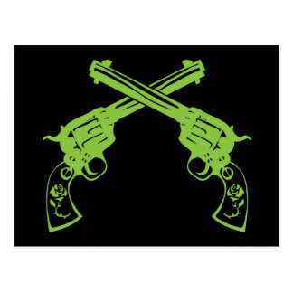 Green Retro Pistols Postcard