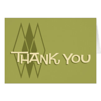 Green Retro Thank You Notecard: MCM Diamonds Card