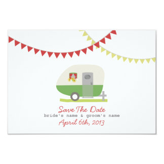 Green Retro Trailer & Wedding Save The Date Card