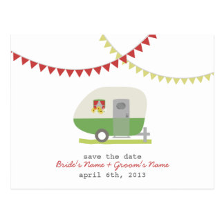 Green Retro Trailer Wedding Save The Date Postcard
