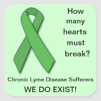 Green Ribbon Lyme Disease Awareness Square Sticker