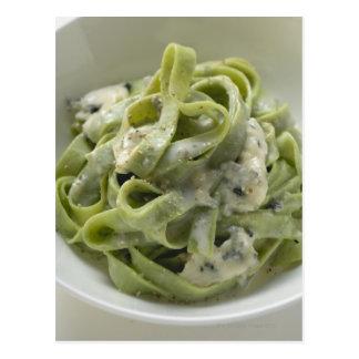 Green ribbon pasta with Gorgonzola sauce Postcard