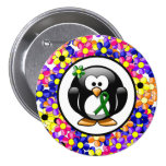 Green Ribbon Penguin 3 Inch Round Button