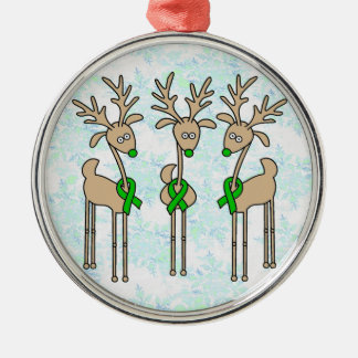 Green Ribbon Reindeer (Kidney Cancer) Silver-Colored Round Ornament