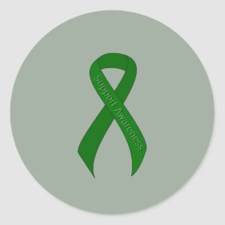 Green Ribbon Support Awareness Round Sticker