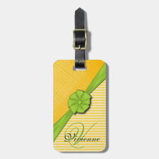 Green Ribbon, Two Tone Yellow Stripes Sunny Fabric Luggage Tag