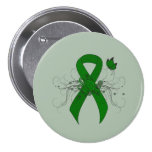 Green Ribbon with Butterfly 3 Inch Round Button