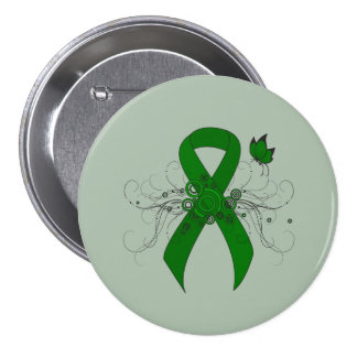 Green Ribbon with Butterfly Pinback Buttons