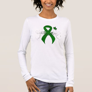 Green Ribbon with Butterfly Long Sleeve T-Shirt