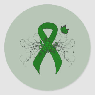 Green Ribbon with Butterfly Round Sticker