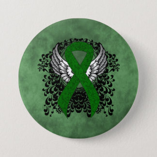 Green Ribbon with Wings 3 Inch Round Button