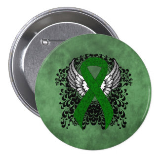 Green Ribbon with Wings Button