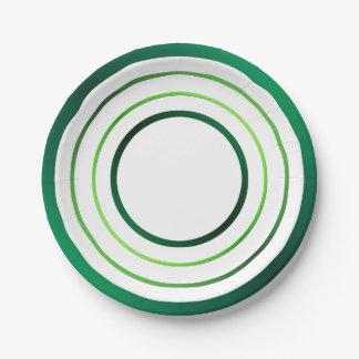 Green Rings Paper Plate