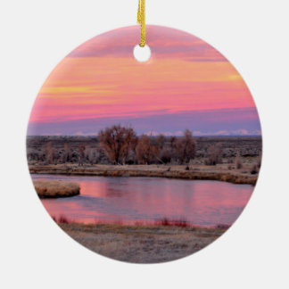 Green River Sunset Wyoming Ceramic Ornament