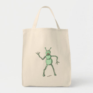 Green Robot Grocery Tote
