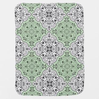 Green Rococo Pattern Flourish Baby Blanket