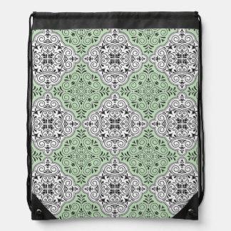 Green Rococo Pattern Flourish Drawstring Bag