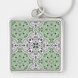 Green Rococo Pattern Flourish Keychain