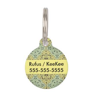 Green Rococo Pattern Flourish Pet Name Tag