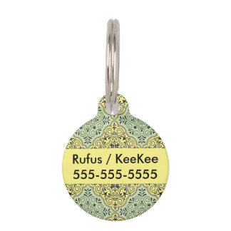 Green Rococo Pattern Flourish Pet Tags