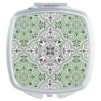 Green Rococo Pattern Flourish Travel Mirror