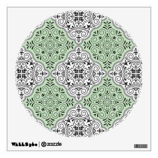 Green Rococo Pattern Flourish Wall Decal