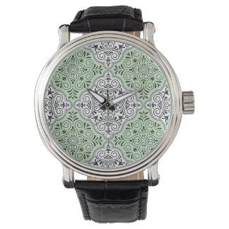 Green Rococo Pattern Flourish Watch