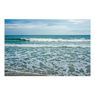 Green Rolling Waves and White Frisky Waves Photo Print